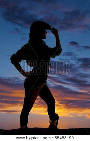 Silhouette Of Cowgirl With Hand Touching Edge Of Hat