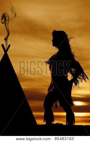 Silhouette Of Native American Woman Dress Blowing