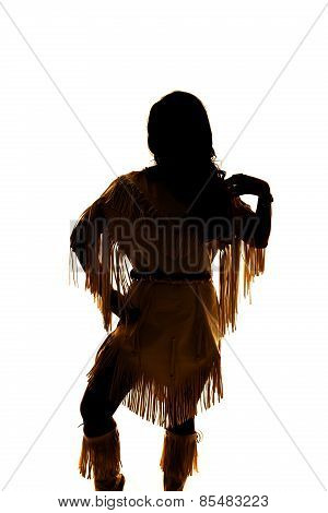 Silhouette Of Native American Woman Hand On Shoulder
