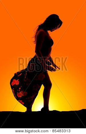 Silhouette Of Woman In Bikini And Sarong Side Hands Down