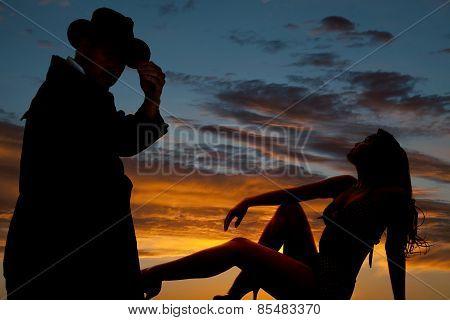 Silhouette Of Woman In Bikini Lean Back Arm On Knee