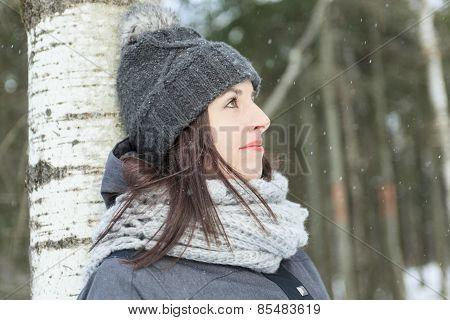 tree woman winter