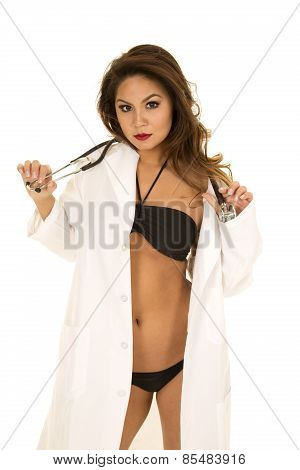Woman Doctor In Bikini Hold Stethoscope Around Neck