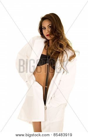 Woman Doctor In Bikini Open Jacket Hands In Pockets