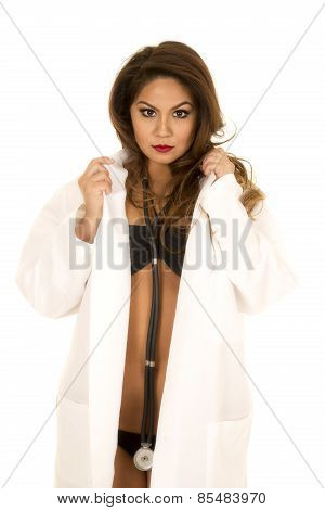 Woman Doctor In Bikini Open Jacket Hold Collar Serious