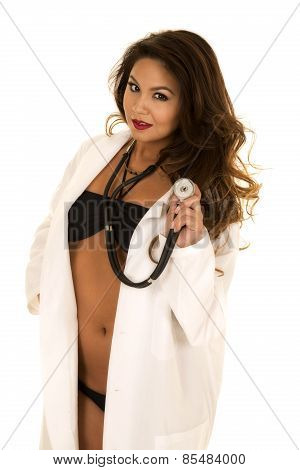 Woman Doctor In Bikini Open Jacket Holding Stethoscope Looking