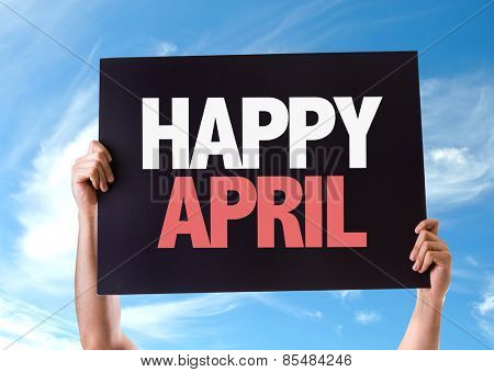 Happy April card with sky background
