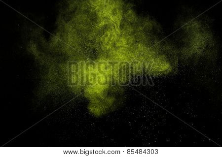 Abstract green paint Holi