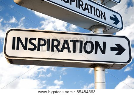Inspiration direction sign on sky background