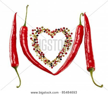 Red Hot Peppers In Pods And Mixture Of Peppercorns