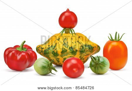 Vegetables, Orange Squash, Red Pepper, Paprika, Red, Green Tomatoes