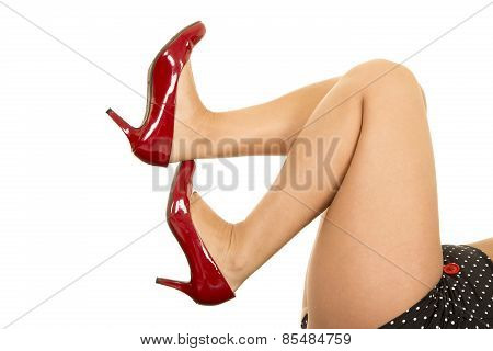 Woman Legs With Red Heels Toes Up