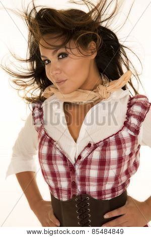 Woman Red Plaid Dress Close Hair Blowing In Face