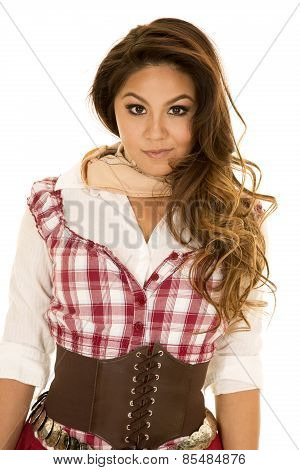 Woman Red Plaid Dress Close Look Serious