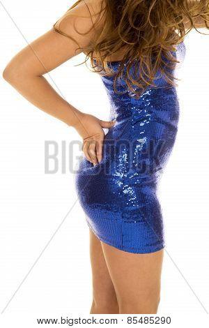 Woman's Body In Blue Shiny Dress Side