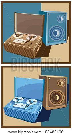 Old Reel Tape Recorder Set