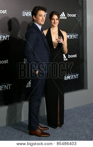 NEW YORK-MAR 16: Actors Miles Teller (L) and Shailene Woodley attend the U.S. premiere of