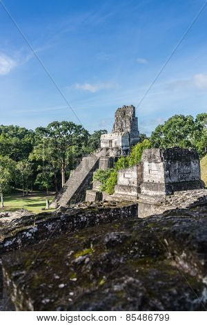 Mayan Ruins At Tikal, National Park. Traveling Guatemala, Central America.