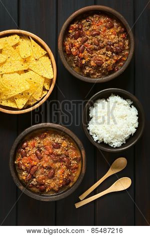 Chili con Carne with Tortilla Chips and Rice