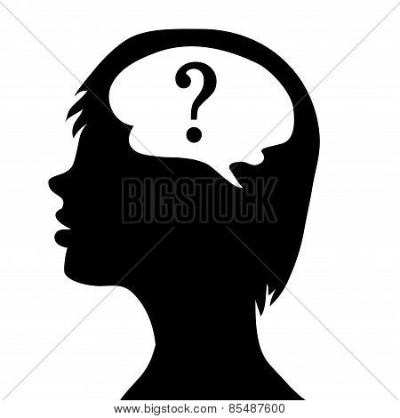 Silhouette Of The Head And  Brain. Process Of Human Thinking. The Concept Of Intelligence. People Co
