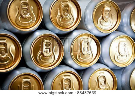 metal  beer cans background
