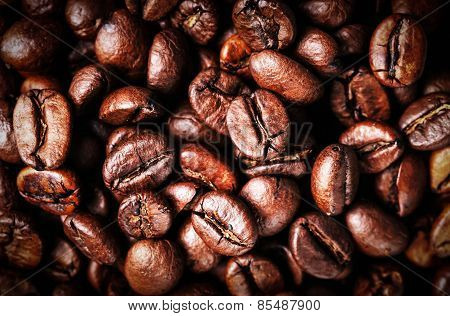 Roasted Coffee Beans Background Texture. Arabic Roasting Coffee - Ingredient Of Hot Beverage. Brown
