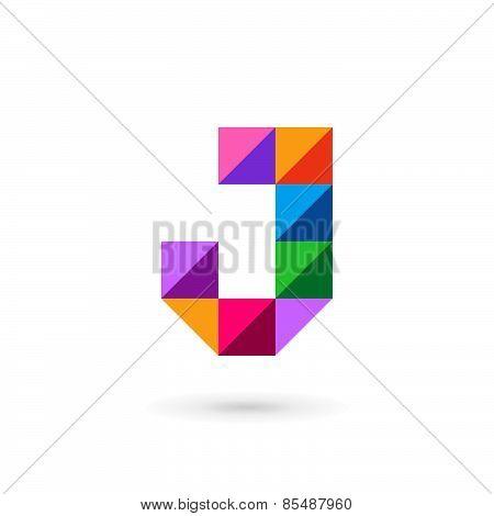 Letter J Mosaic Logo Icon Design Template Elements
