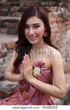 Female In Thai Traditional Dress