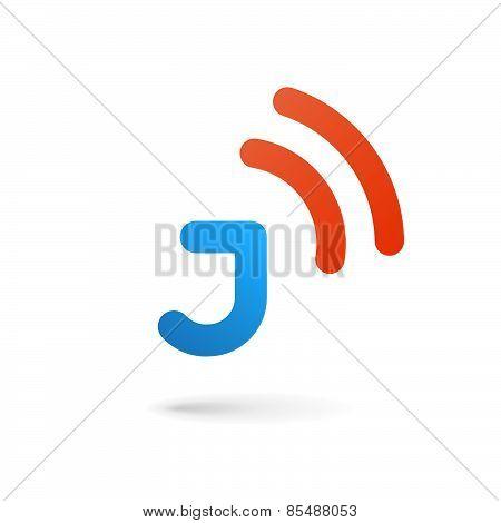 Letter J Wireless Logo Icon Design Template Elements