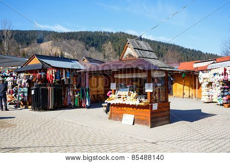 The Stall With Regional Food Products In Zakopane