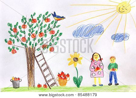 Children In A Autumn Garden - Children Drawing