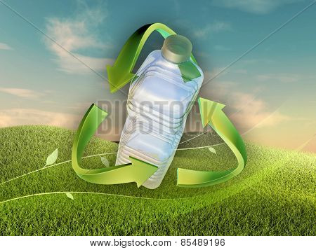 Landscape with a plastic bottle in a recycle sign. Digital illustration.