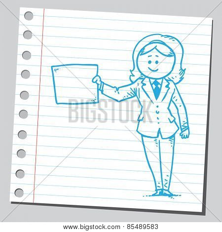Businesswoman holding empty paper