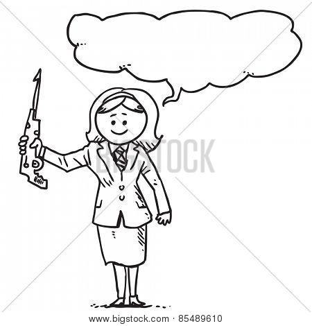 Businesswoman with harpoon speaking