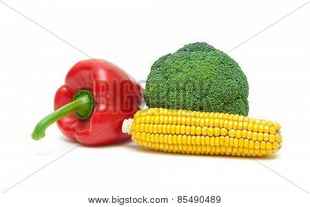 Bell Peppers, Corn And Broccoli Isolated On White Background