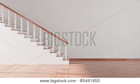 Stair and white empty wall with parquet floor, room interior