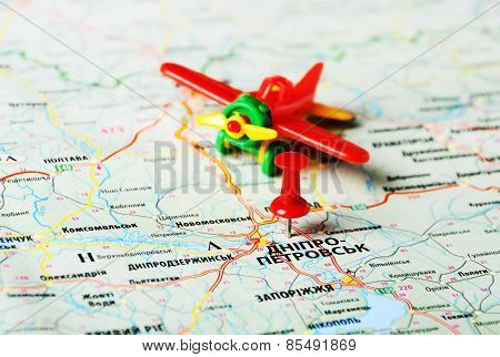 Dnepropetrovsk  ,ukraine Russia Airplane Map