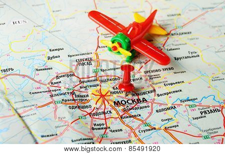Moscow  , Russia  Map Airplane