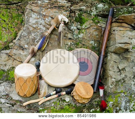 Native American Drums with Rain Stick and Spirit Chaser.