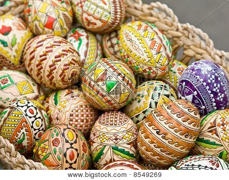 Bucovina Traditional Easter Eggs In A Basket