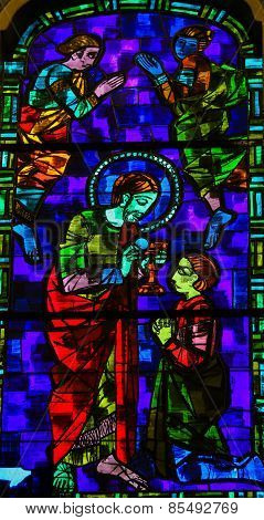 Jesus Christ Giving Communion - Stained Glass