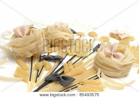 Bunch Of Macaroni, Spaghetti, Pastes  On A White Background