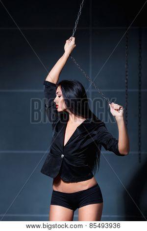 Beautiful Sexy Woman In Black Jacket