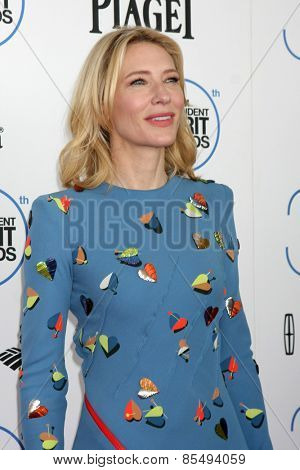 LOS ANGELES - FEB 21:  Cate Blanchett at the 30th Film Independent Spirit Awards at a tent on the beach on February 21, 2015 in Santa Monica, CA