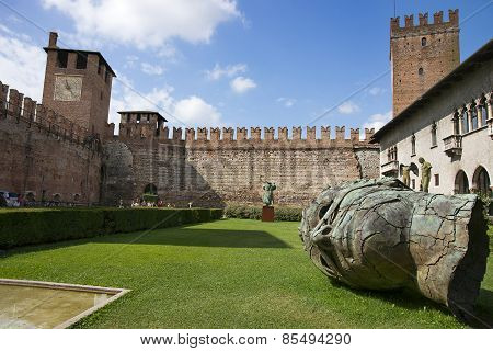 Inner Yard Of Verona Old Castle
