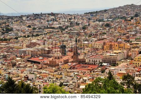 Aerial view of Zacatecas, colorful colonial town, Mexico