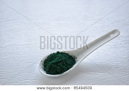 Spirulina Powder On White Spoon