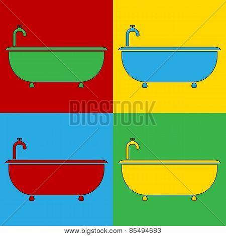 Pop Art Bathtub Symbol Icons.