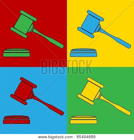 Pop Art Judge Gavel Symbol Icons.