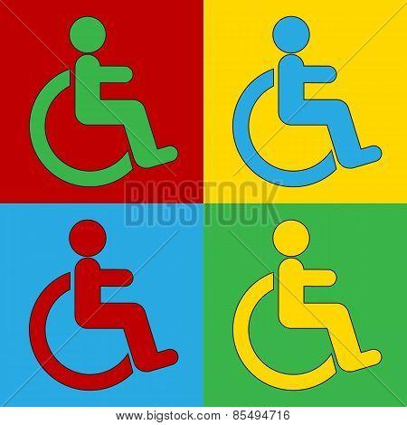 Pop Art Disabled Sign Symbol Icons.